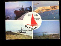 Archipel Des GLENAN 29170 Ile Saint St Nicolas  Multivues (publicité Bar Les 4 Vents Iles De Glénans ) Plongée Voile - France
