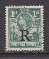 "NORTHERN RHODESIA (ZAMBIA): Elizabeth II, REVENUE 1953, 1d  Green Opt ""R"", Postal Used - Northern Rhodesia (...-1963)"