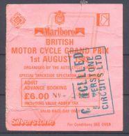 Billet Moto GP Motor Cycle G.P. De Grande-Bretagne Silverstone 1 Aout 1982 - Eintrittskarten