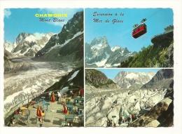 Cp, 74, Chamonix - Mont-Blanc, La Mer De Glace Et Le Montenvers, Multi-Vues, Voyagée 1969 - Chamonix-Mont-Blanc