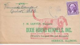 U.S.  AD  COVER  HOUND  DOGS  KENNELS  1935  W/  LETTERHEAD - Covers & Documents