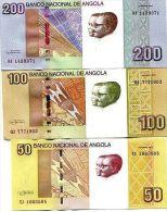 ANGOLA 50 100 200 KWANZA 2012 P-NEW UNC SET 3 PCS - Angola