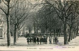 CPA 30 ST JEAN DU GARD PLACE CARNOT ET LE TEMPLE - Saint-Jean-du-Gard