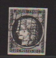 FRANCE  //  20 CENTIMES NOIR  //  N 3 - 1849-1850 Ceres