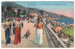 06 - MENTON - La Plage Et Pyjamas Sur La Promenade Du Midi - Menton