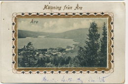 Are Halsning Fran Are Embossed Mechanical Multi View Card 10 Different Views Sized 8,5 By 5 Cms - Norvège