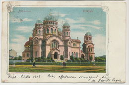 Letonie Lietuva Riga Kathedrale 1902 Wezel Naumann Leipzig Litho P. Used Russia And Type Blanc - Lettonie