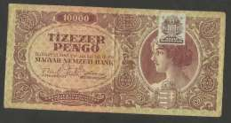 [NC] HUNGARY / MAGYAR - 10000 PENGO (BUDAPEST - 1945) WITH N.M. BANK STAMP - Ungheria