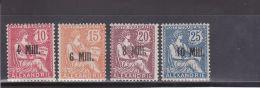 ALEXANDRIE - YVERT N°37+40+41+42 * - COTE = 29 EUROS - CHARNIERE TRES LEGERE - MOUCHON - Alexandria (1899-1931)