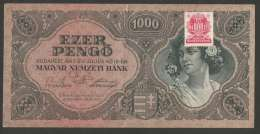 [NC] HUNGARY / MAGYAR - 1000 PENGO (BUDAPEST - 1945) WITH N.M.BANK STAMP - Ungheria