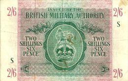 UNITED KINGDOM 2 SHILLINGS 6 PENCE GREEN LION EMBLEM FRONT & MOTIF BACK SERIES S ND(1943) PM3 READ DESCRIPTION !! - Autorità Militare Britannica
