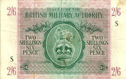 UNITED KINGDOM 2 SHILLINGS 6 PENCE GREEN LION EMBLEM FRONT & MOTIF BACK SERIES S ND(1943) PM3 READ DESCRIPTION !! - Emissioni Militari