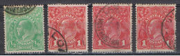 AUSTRALIA:  1914/23  GIORGIO  V°  -  4  VAL. US. -  YV/TELL. 18+20 - Gebraucht