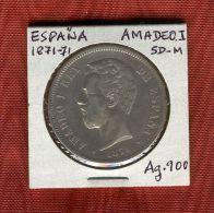 ESPAÑA : 5 Pta1871*71.SD-M.(Rey Amadeo I) Palta/ Silver/Argent.900 TTB.MBC.VF. - Non Classés