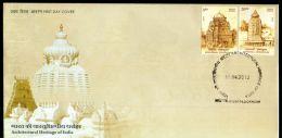 India 2013 Architectual Heritage - Srikurmam & Arsavalli Temple Hindu Mythology 2v FDC Inde Indien - Hinduism