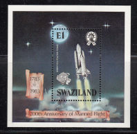 Swaziland MNH Scott #435 Souvenir Sheet 1e Space Shuttle Columbia At Take-off - Manned Flight Bicentennary - Swaziland (1968-...)