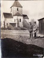 Photo Originale 1917 En Champagne, Secteur Saint-Etienne-à-Arnes?? Soldats Allemand, Une église (A44, Ww1, Wk1) - France