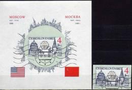 Besuch USA Präsident 1988 CSR Ungezähnt 2965 B+Block 82 B O 15€ Capitol Washington Kreml Moskau Flagge USA/SU Sheet CSSR - Blocks & Sheetlets