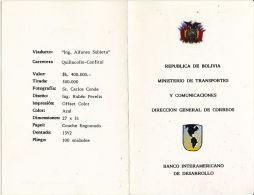 Quillacolla-Confital, Viaduct, Banco Americano De Desarrollo,1986, First Day, Beautiful Condition - Bolivië