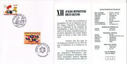Sport,Juegos Deportivos Bolivarianos,Flags,1993, First Day, Beautiful Condition - Bolivië