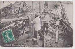 REPARATION DES FILETS DE PECHE - TROUVILLE - CALVADOS - ECRITE 1911 - 2 SCANS - - Pesca