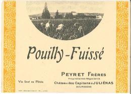 Etiquette Pouilly Fuissé - Peyret Frères - Chateau Des Capitans à Juliénas - Beaujolais