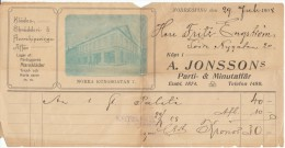 Norrkoping Sweden Invoice, A. Jonsson's Store With View Of Store Front, Dated 29 July 1908 - Invoices & Commercial Documents