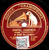 """78 Trs - DISQUE """"GRAMOPHONE"""" K-3601 - Etat TB - GESKY - CHANTEZ GRAND´MERE - PAPILLON DE NUIT - 78 T - Disques Pour Gramophone"""