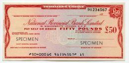 """Grande-Bretagne Great Britain 50 Pounds """"""""CHEQUE De VOYAGE """" UNC TRAVELLERS CHEQUE """""""" SPECIMEN National Provincial Bank - Groot-Brittanië"""