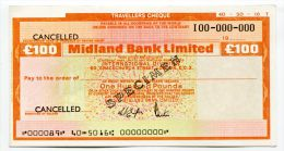 "Grande-Bretagne Great Britain 100 Pounds """"CHEQUE De VOYAGE "" UNC TRAVELLERS CHEQUE """" SPECIMEN Midland Bank - Gran Bretagna"