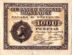 EL-BANCO ESCOLAR BONANOVA- PAGARA AL PORTADOR-1944 - [ 3] 1936-1975 : Régimen De Franco