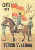 CEUTA 1936 - TERCIO DE LA LEGION - LAMINA COMPLETA DE CUPONES DE RACIONAMIENTO - [ 3] 1936-1975 : Régence De Franco