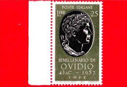 ITALIA - 1957 - NUOVO - Bimillenario Della Nascita Di Publio Ovidio Nasone - 25 L. • Ritratto - 1946-.. République