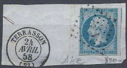 Superbe Fragment De Terrasson Du 24 Avril 58 - 1853-1860 Napoleon III