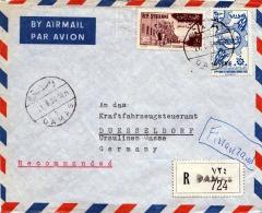 1958 SYRIEN, 2 Fach Frankierung Auf Reco-Brief Von Damas Nach Düsseldorf - Syrien