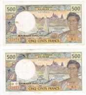Polynésie Française - 500 FCFP - Mention PAPEETE Au Verso - 2 X M.3 / Roland-Billecart / Waitzenegger - UNC - Papeete (Polynésie Française 1914-1985)
