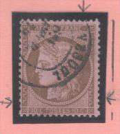Cérès N° 58 (Variété, Filet Brisé) Avec Oblitération Cachet à Date  TTB - 1871-1875 Ceres