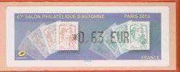 VIGNETTE LISA 1 - SALON PHILATELIQUE D´AUTOMNE - MARIANNES - PARIS 2013  - MENTION 0,63 EUR - NEUF - 2010-... Vignettes Illustrées
