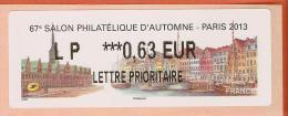 VIGNETTE LISA 2 - SALON PHILATELIQUE D´AUTOMNE - PARIS 2013  - MENTION 0,63 EUR LETTRE PRIORITAIRE - NEUF - 2010-... Vignettes Illustrées