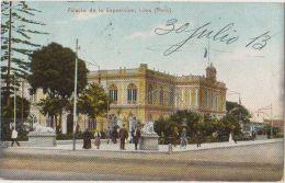 CPA PEROU PERU LIMA El Palacio de la Exposicion Tinted Ed Polack Timbre Stamp 1913