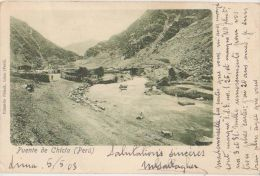 CPA PEROU PERU Puente de Chicla Timbres Stamps 1903
