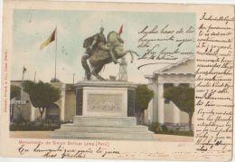 CPA PEROU PERU Monumento de Simon Bolivar Tinted Timbres Stamps Ed Polack 1905