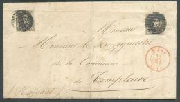 N°3(2) - Médaillons 10 Centimes Bruns (2 Exemplaires) Obl. P.73 Sur Lettre De LIEGE Le 26 Avril 1851 Vers Templeuve - 94 - 1849-1850 Médaillons (3/5)