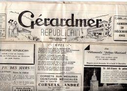 88 VOSGES Journal   GERARDMER REPUBLICAIN   52 Numéros  Année 1962 Compléte   D370 - Newspapers
