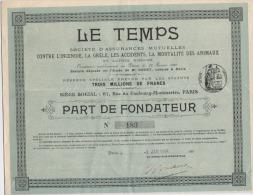 Le Temps Société D'assurances Part De Fondateur - Actions & Titres