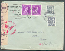 Lettre Censurée D'ANTWERPEN 1 Le 15-6-1941 Vers Oslo (Norvège).  TB  - 9501 - 1934-1935 Leopold III.