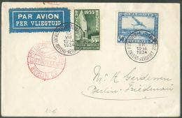 Lettre Par Avion De ANTWERPEN LUCHTVAARTSTATIE Du 15-VII-1934 Vers Berlin - 9510 - Luftpost