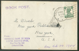 9ps Obl; Sc CALCUTTA Sur Lettre (tarif Imprimé - Book Post) Du 27 Novembre 1941 Vers New-York (USA) + Cachet Triangulair - Inde (...-1947)