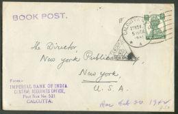 9ps Obl; Sc CALCUTTA Sur Lettre (tarif Imprimé - Book Post) Du 27 Novembre 1941 Vers New-York (USA) + Cachet Triangulair - 1936-47 King George VI