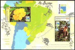 ARGENTINA  -  UÑA DE GATO Y CARAYA ROJO   -  BRASILIANA 2013  -  M/S - Unused Stamps